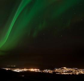The Northern Lights Over Tórshavn, The Capital Of The Faroe Islands