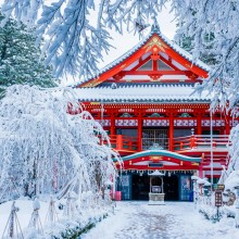 Temple In The Snow, Japan