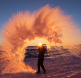 Hot Water Thrown Into The Air, Antarctica