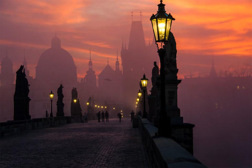 charles bridge in dusk, prague