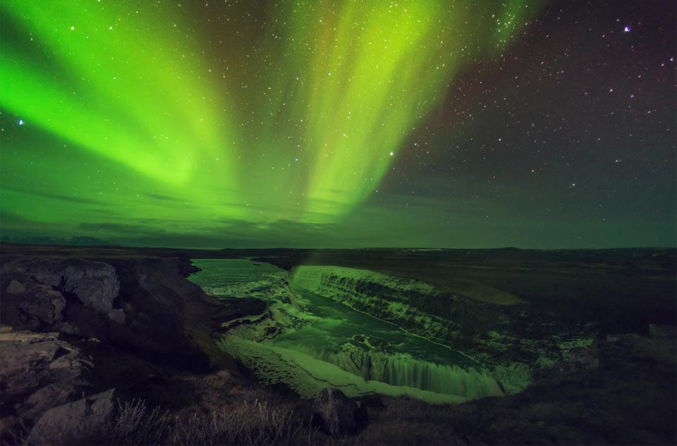 aurora lights over gulfosom, iceland