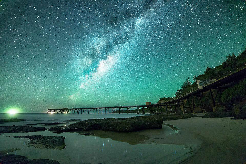 milky way over catherine hills bay, australia