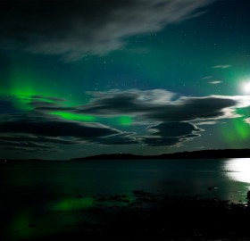 aurora borealis and moon reflection