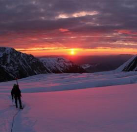 sun dusk at great ice fall