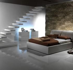 modern lower level bedroom