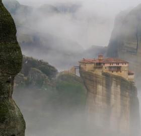 mountaintop house in the mist, kalabaka greece
