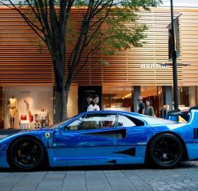 a beautiful blue ferrari f40