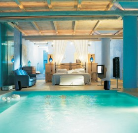 blue pool bedroom