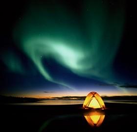 camping under aurora
