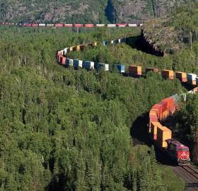 intermodal train in northern ontario, canada