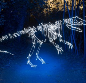 light graffiti dinosaurs