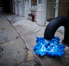 pixelated water at streets of nyc