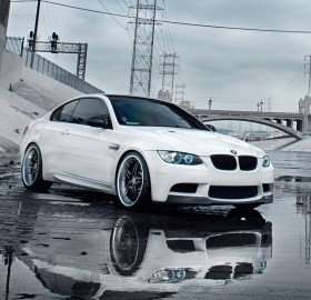 reflection of white bmw