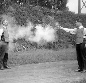 testing of a bulletproof vest in 1923