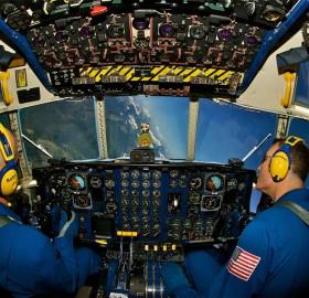 u.s. marine pilots perform a bank over glacier national park