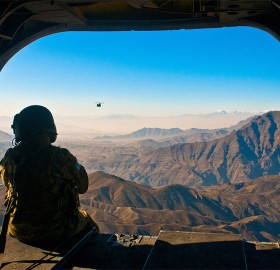 view on afghanistan landscape from a helicopter