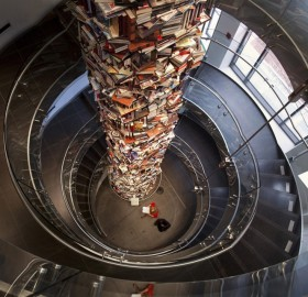 a tower made out of 15 000 books