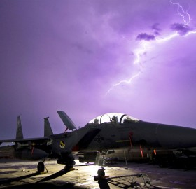 f-15e strike eagle fighter aircraf and a lightning
