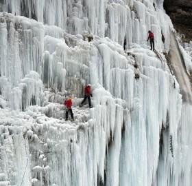 frozen waterfall, slovenia