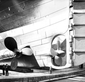 the titanic`s rudder and propellers, 1912