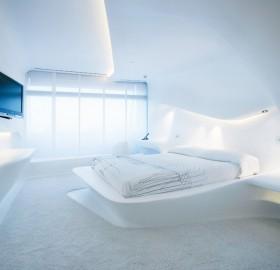 futuristic hotel room in madrid