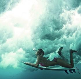 underwater female surfer