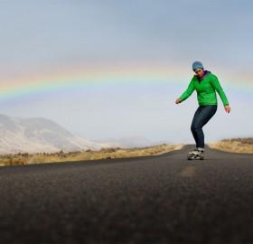 longboarding bellow rainbow