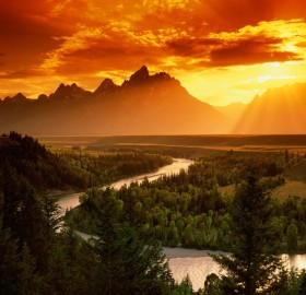 sunset over snake river