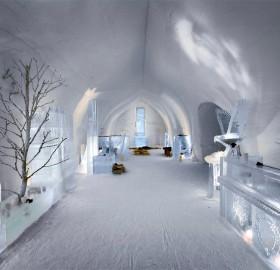 ice hotel lobby, finland