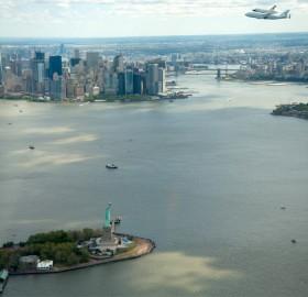 space shuttle enterprise over new york