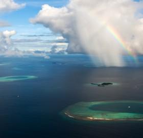 rainbow over maldives