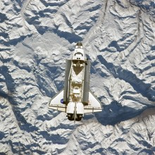 space shuttle over the andes mountains