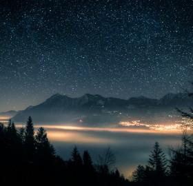 starry night over switzerland