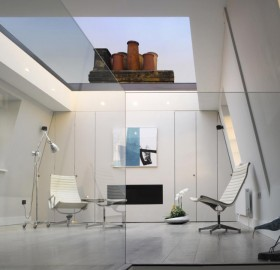 modern room with a glass ceiling