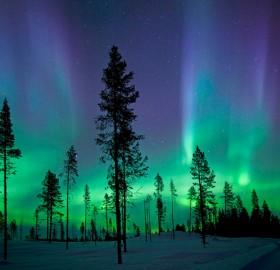 northern lights over kiruna, sweden