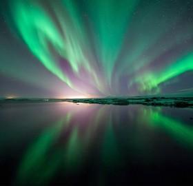 northern lights over thingvellir national park