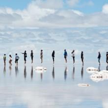 jump at bolivian salt flat