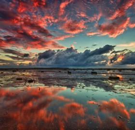 red clouds over long reef, australia