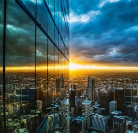 melbourne downtown sunset