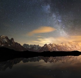 milky way rising over the mountains