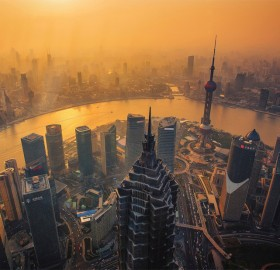 shanghai cityscape at sunset