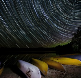 star trails over pog lake, canada