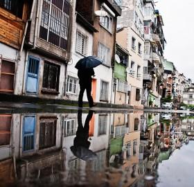 walking in the rain, istanbul, turkey