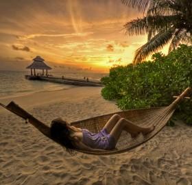 enjoying the sunset, baros, maldives