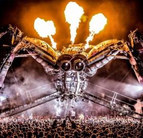 amazing DJ stage at music festival