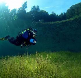 crystal clear waters of sameranger lake, austria
