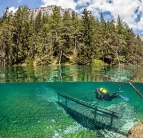 diver in underwater park, austria