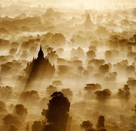 sunrise over the ancient city of bagan, myanmar