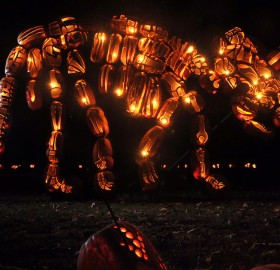 triceratops sculpture made from halloween pumpkins