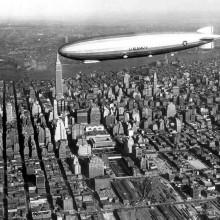zeppelin above new york midtown, 1931